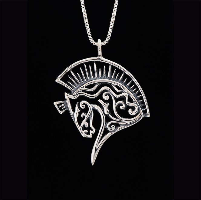 Sterling silver horse necklace for charity by Jeni Benos