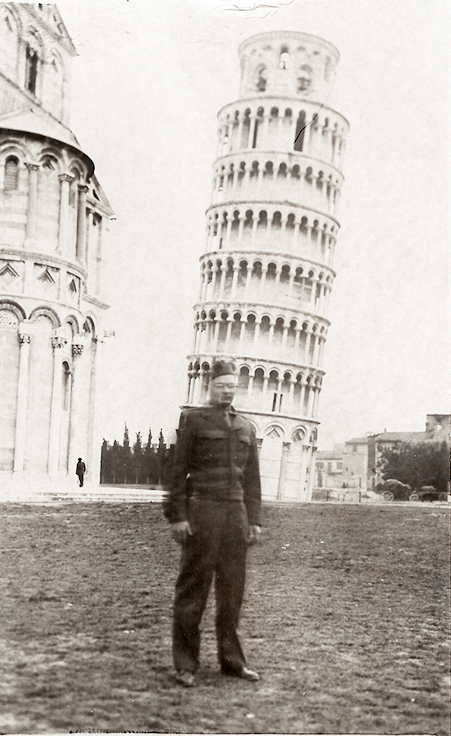 Harry Kotowski standing in front of the Leaning Tower of Pisa