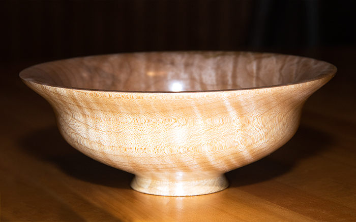 A wooden bowl turned by Jeni Benos