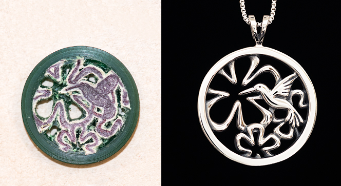 a rough wax carving and a finished jewelry item