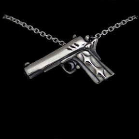 sterling silver gun necklace