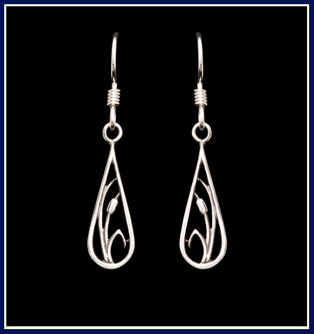 cattails in teardrop earrings hand carved and cast sterling silver