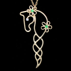 14k Gold Horse Necklace