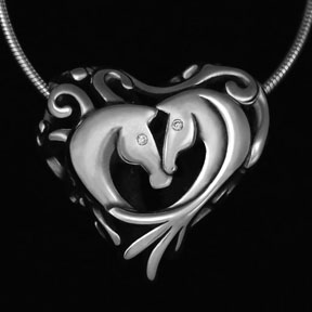 Silver Horse Necklace with Diamonds