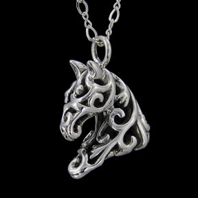 seamless hollow filigree horse necklace, Ivy
