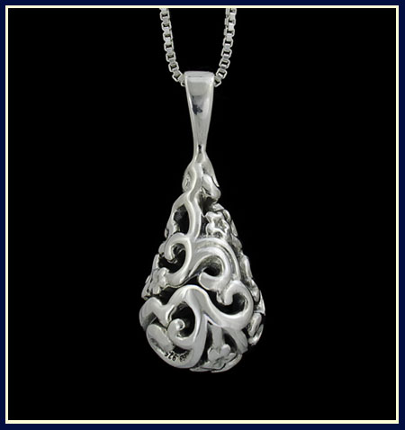 filigree teardrop horse pendant back view