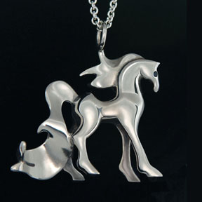 Sterling Silver Horse with Sapphire