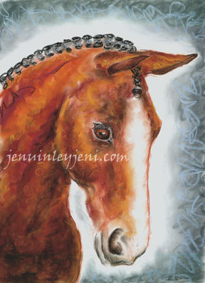 Horse Chalk Drawing by Jeni Benos