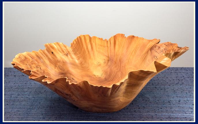 Bruce Fransen hand sculpted bowl in birds eye elm