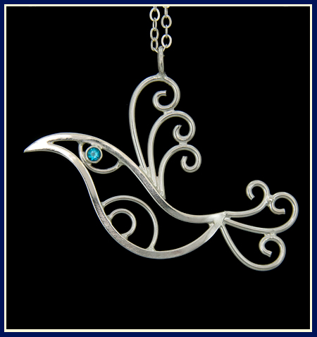 sterling silver bird necklace with swiss blue topaz