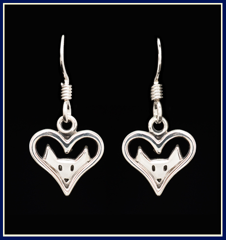heart shaped earrings with cat ears peeking through in silver