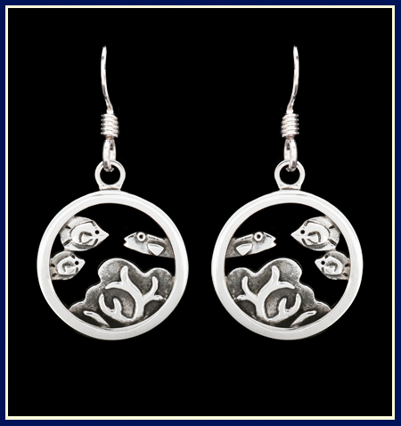 Sterling Silver Earrings with Coral and Reef Fish in a Circle