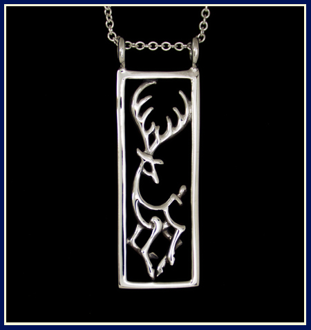 handcrafted silver dancing deer necklace