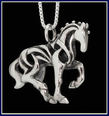 piaffe filigree dressage horse necklace in sterling silver