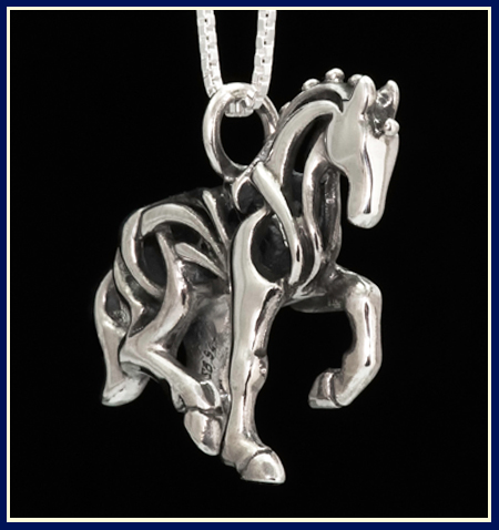 handcrafted piaffe dressage horse necklace by Jeni Benos