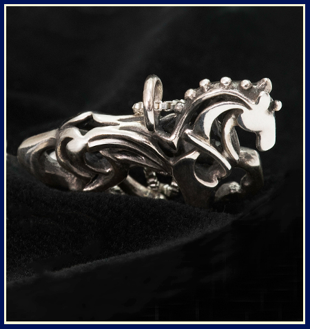 view of back filigree dressage horse necklace sterling silver