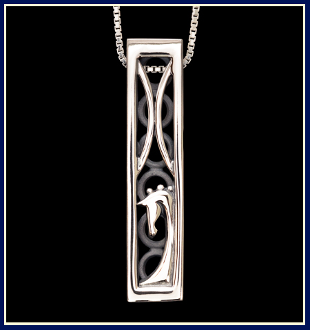 a rectangular necklace with a horse and two half loops from dressage