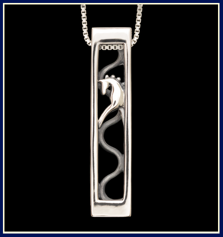 trotting horse in rectangular dressage themed necklace