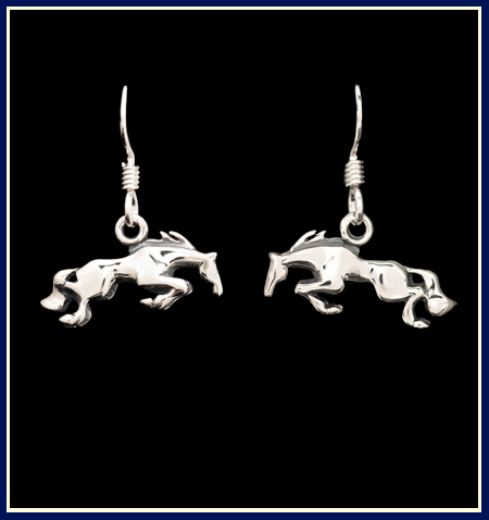 handcrafted jumping horse earrings in sterling silver