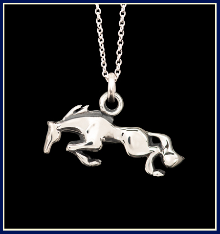 equestrian necklace of jumping horse in sterling silver