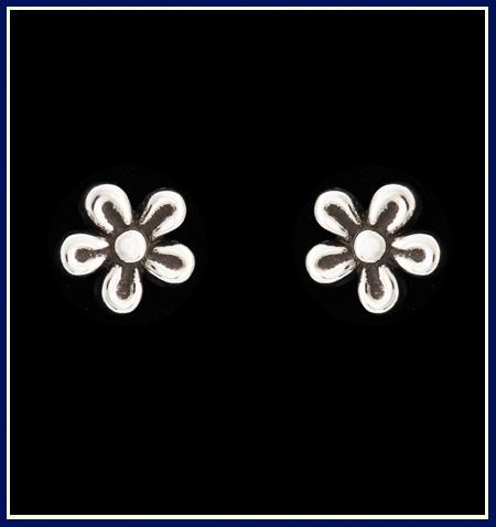 Sterling Silver Flower Earrings Handmade by Jenuinely Jeni
