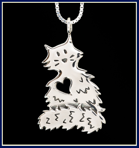 fluffy cat handmade necklace in sterling silver by Jenuinely Jeni