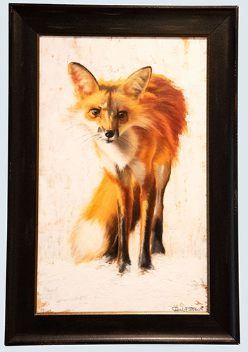 Red Fox Painting Framed Original Oil by Carol Lee Thompson