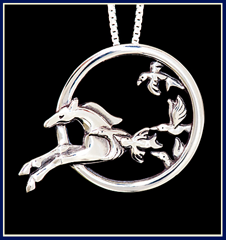 A galloping horse leaping through a circle with flying birds- necklace