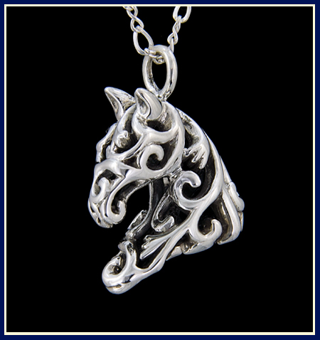 filigree horse head in sterling silver by Jeni Benos