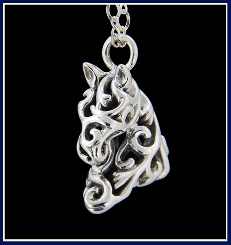 horse necklace made of filigree flower vines