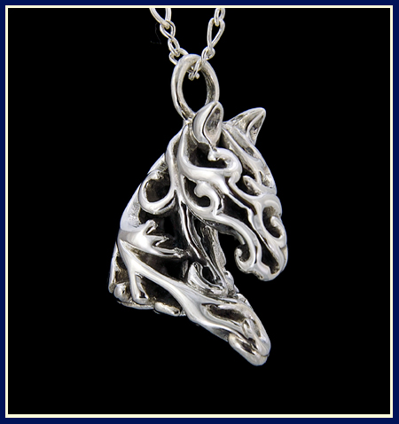 filigree floral horse necklace in sterling silver