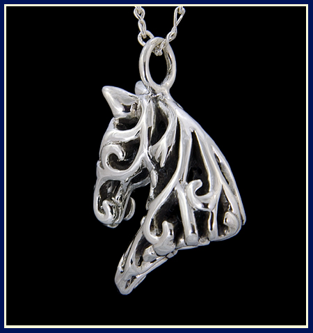 view from back of floral filigree horse pendant