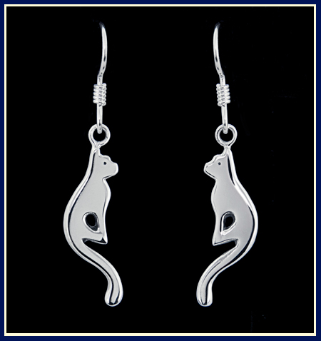 kitten earrings in sterling silver by Jeni Benos