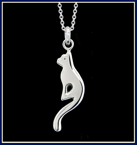 contemporary sterling silver kitten with long tail necklace on chain