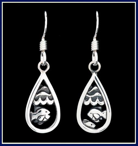 Teardrop Shaped Sterling Silver Earrings with Fish Waves