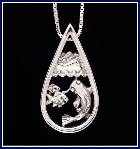Teardrop shaped pendant with mountains waves and river fish