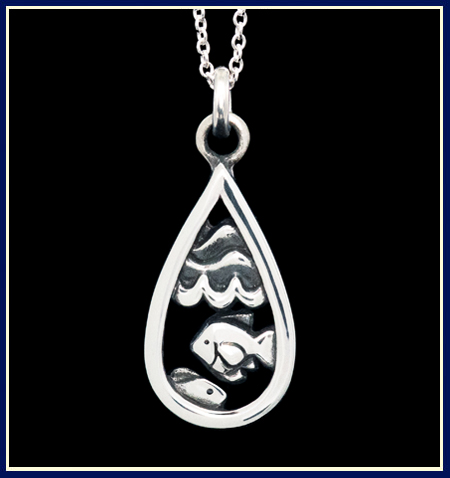 Teardrop shaped Necklace with Two Fish Under Waves