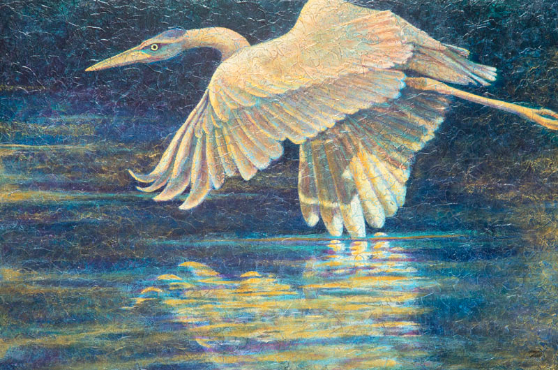 Great Blue Heron Flying Over Blue Water in Metallic Acrylic Paint