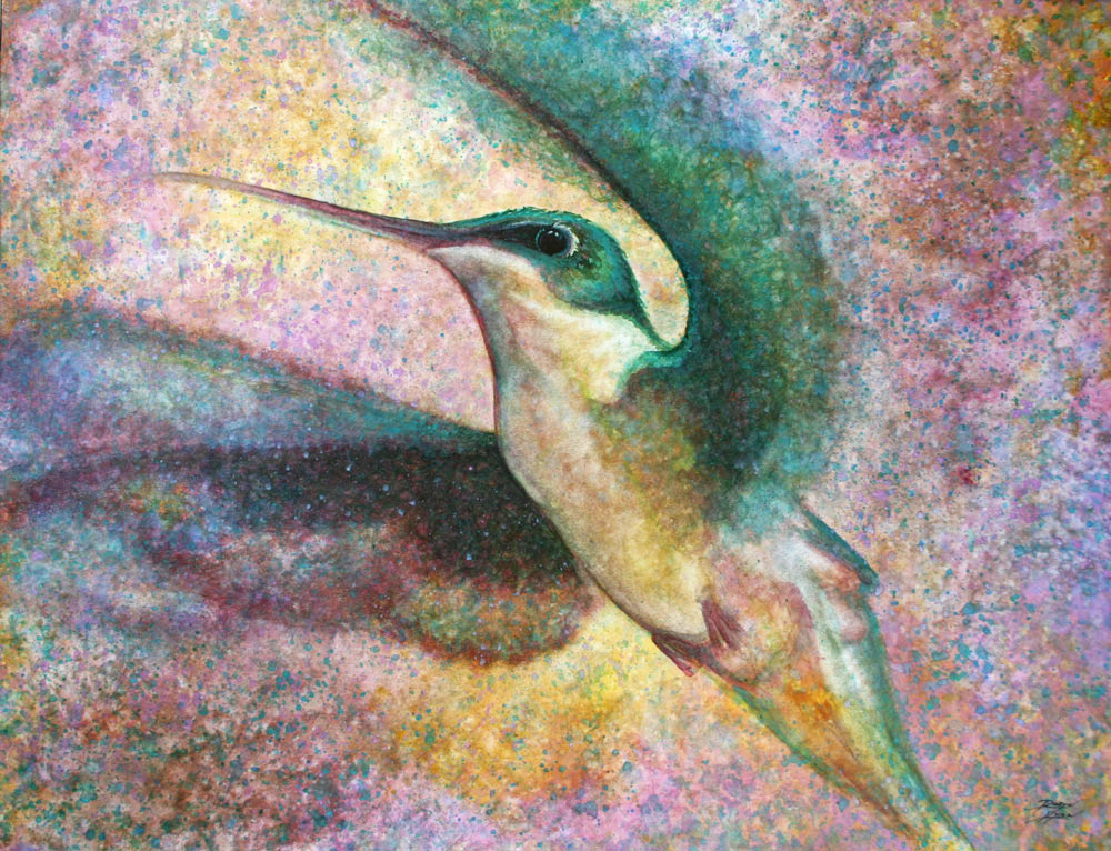 Close up view of hummingbird watercolor painting by Robyn Ryan