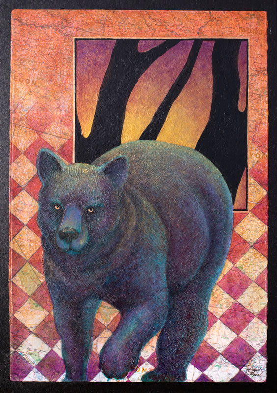 Black Bear with bright gold eyes over a checkered map by Robyn Ryan