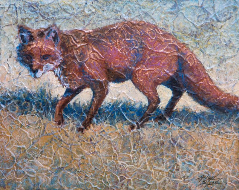 red fox in a field painted in layered acrylic by Robyn Ryan