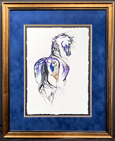 Blue Spots framed watercolor painting by Sarah Lynn Richards
