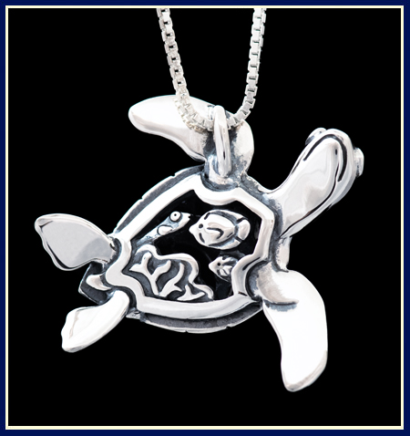 Filigree Turtle Necklace with Fish Carved on Belly by Jeni Benos