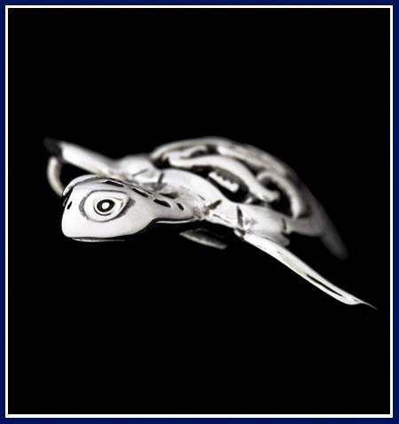 Filigree Sea Turtle Pendant View of Face by Jenuinely Jeni Inc