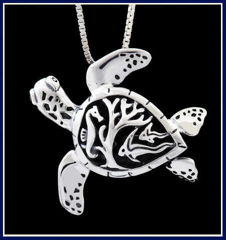 Sea Turtle Necklace with Fish Carved on Shell by Jeni Benos