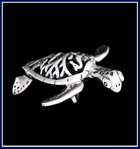Filigree Sea Turtle Pendant Side View by Jenuinely Jeni Inc