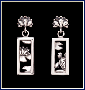 turtle and lotus earrings in sterling silver by Jeni Benos