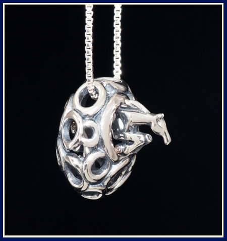 abstract sterling silver three day eventing horse necklace in keyhole