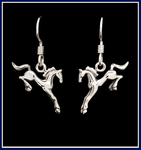 hunter jumper horse earrings in sterling silver