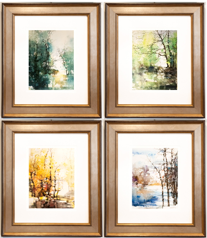 4 Orignial Watercolor Framed Pictures of Seasons by ZL Feng